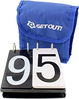 Get Out! Over Net Portable Tennis Game Score Keeper, Numbered Score Board Cards Tracker 0-9 Flip Scorecard Scorekeeper