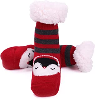 Toddler Fuzzy Slipper Socks Fleece Lined Cozy Winter Baby Girls Boys Cute Thermal Warm Home Socks with Grippers