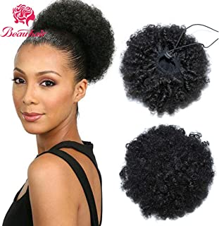 Beauhair Drawstring Ponytail Kinky Curly Human Hair Short Afro Kinky Wig Updo Hair Extension Puff Bun Ponytail Clip on Hair Extensions Curly Hair For Black Women (8inch,Black-1b)