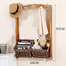 Wall Coat Rack Clothes Hat Hanger Holder Hooks Wood Cloth Baskets Home Style, 2 Styles, 2 cxjff (Color : F)