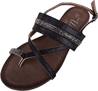 ABSOLUTE FOOTWEAR Womens Summer/Holiday/Casual Sandals/Shoes with Diamonte Design