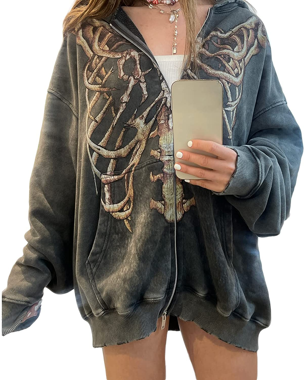 Y2K Oversized Skeleton Print Hoodies for Women Graphic Aesthetic Zip Up Cardigan Hooded Sweat Jacket with Pockets