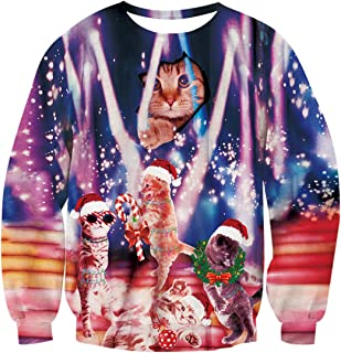 Print Lighting Cat Shirt Collage Ugly Christmas Sweater Pullover Sweatshirts