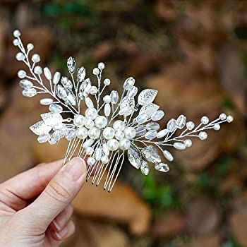 Yean Bride Leaf Bridal Hair Comb Pearl Wedding Hair Piece Rhinestone Hair Accessories for Women and Girls (Silver)