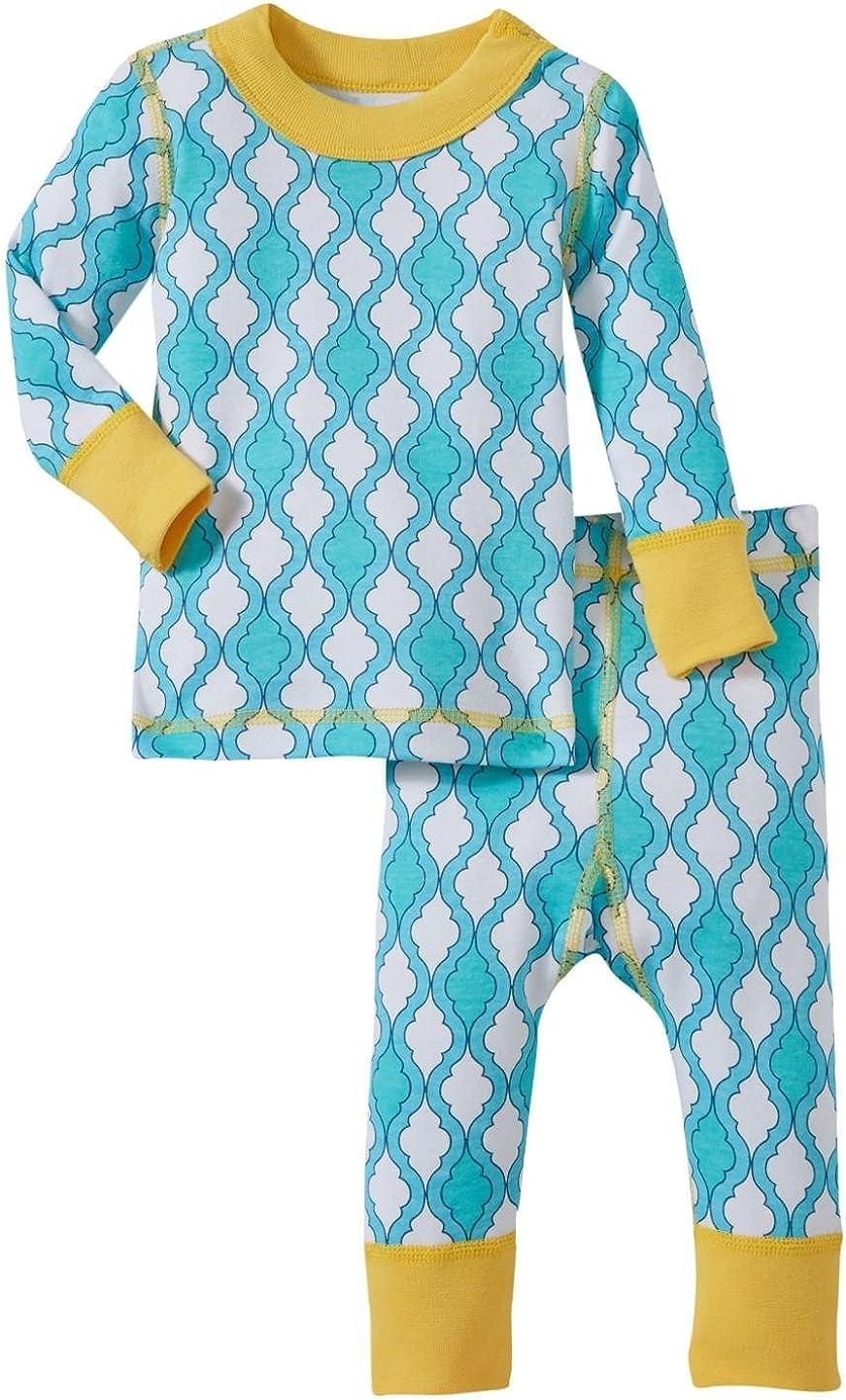 Masala Baby Girls' Jiva PJ Set (Baby) - Turquoise/Yellow - 6-12 Months