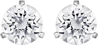 Swarovski Women's White Rhodium plated Solitaire Pierced Earrings 1800046