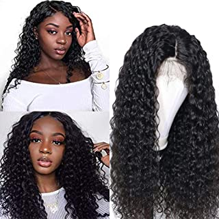 Brazilian Deep Wave Lace Front Wigs Human Hair Pre Plucked 13x6 Lace Front Deep Curly Wigs with Baby Hair Glueless Lace Wigs for Black Women 150% Density Unprocessed Virgin Human Hair(16inch)