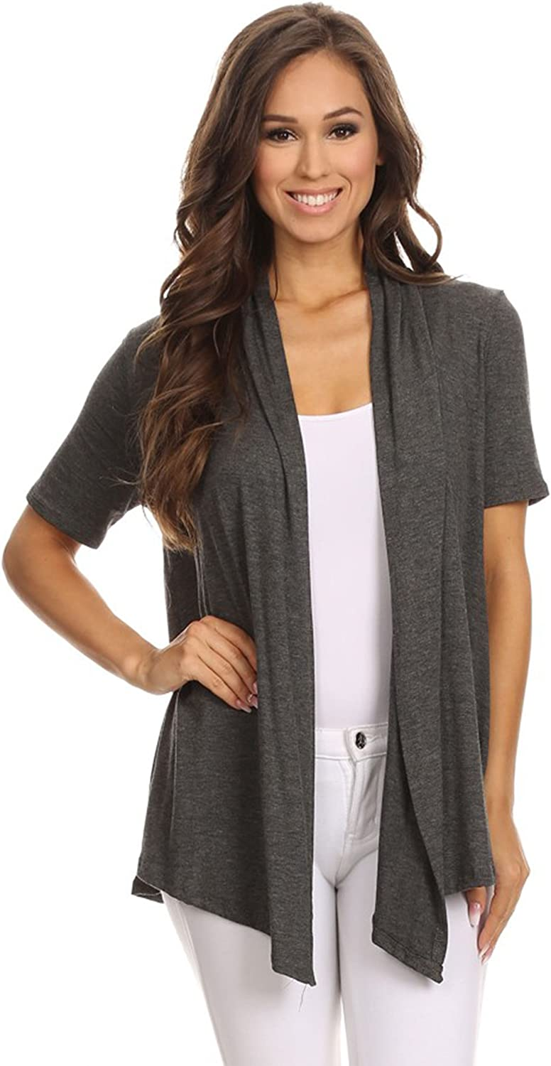 Fashion Stream Women's Plus Size Solid Short Sleeves Open Front Cardigan. Made in USA