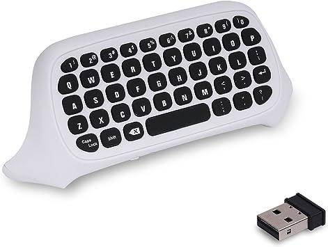 MoKo Xbox One Mini Teclado - 2.4G Receptor Inalámbrico Chatpad Mensaje Game Wireless Keyboard Keypad para Xbox One/Xbox One S Controlador, Teclado de ...