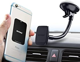 WUTEKU Magnetic Windshield Cell Phone Holder Kit for Car - Works on All Vehicles, Phones and Tablets - Best Strongest Suction Cup - Compatible with Phones XR XS X 8 7 and Galaxy S10 S9 S8 and More