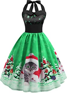 Women Christmas Dress Vintage 1950s Halter Neck Print Cocktail Party Swing Dresses (Cute Christmas Cat, S)
