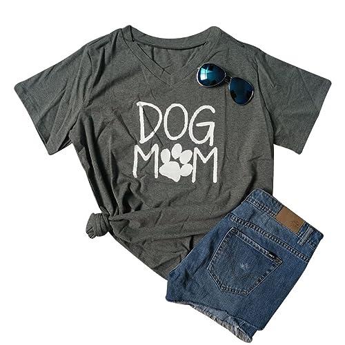 3f3445eb2 Women Dog Mom T-Shirt Short Sleeve Cute Funny Letter Print Shirt Top