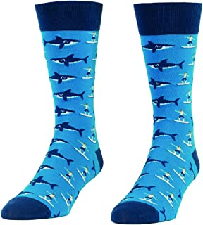 Sharks and Surfers Novelty Socks - Quirky, Funny Men's Crew Socks by Headline Shirts