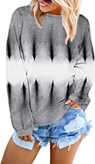 Pink Queen Women's Casual Long Sleeve Tie Dye Gradient Color Loose Knit Pullover Sweatshirts Blouses