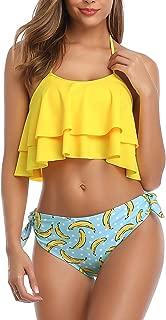 Women Bikini Swimsuit Halter Ruffled Flounce Top Tie Knot Swimwear Set