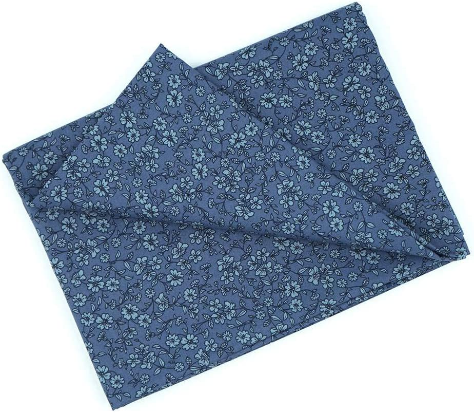 MasterFAB Cotton Fabric by The Yard for Sewing DIY Crafting Fashion Design Printed Floral Washable Cloth Bundles Voile;Full Width cuttable39 x 55inches (100x140cm) (Gray-Blue Spring Flowers)