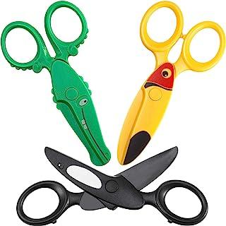 3 Pieces Toddler Safety Scissors in Animal Designs, Kids Preschool Training Scissors Child Plastic Art Craft Scissors for ...