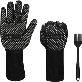 PHILORN 1472 °F Guante para Asar Resistente al Calor con Silicona Cepillo para Barbacoa Cinco Dedos Guantes para Hornos de...