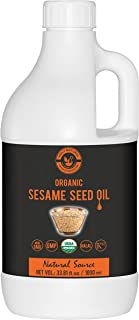 Organic Sesame Seed Oil(33.81 fl oz)USDA Certified, Extra Virgin Cold-Pressed, 100% Pure & Natural, No GMO,Untreated and U...