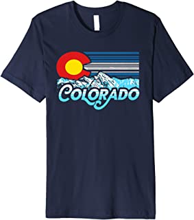Vintage State of Colorado Flag & Rocky Mountains Graphic Premium T-Shirt