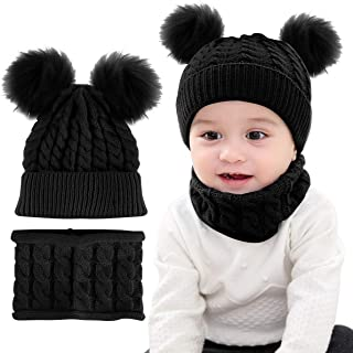 2Pcs Infant Toddler Kids Baby Winter Warm Knit Hat Beanie Cap & Neck Warmer Circle Loop Scarf for Girls Boys