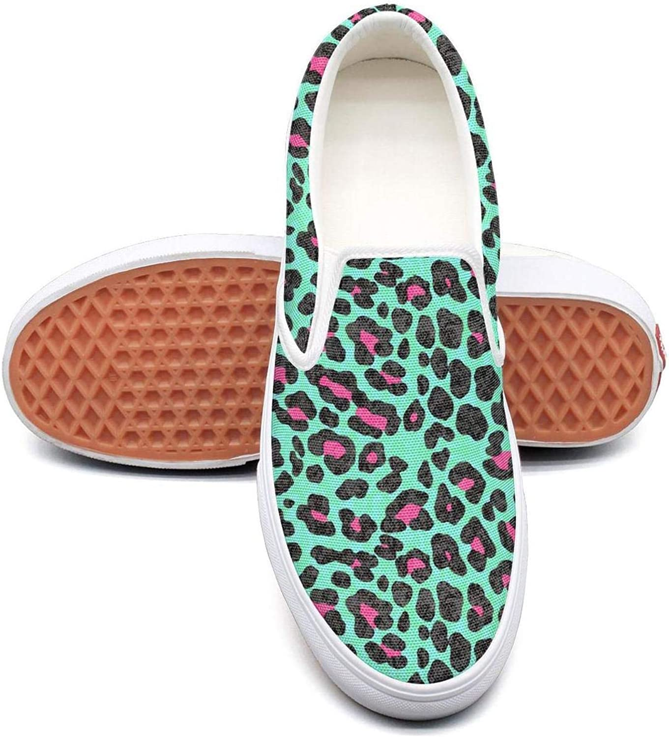 Lalige Awesome Collection Cheetah Print Women Breathable Canvas Slip-ONS Sneakers shoes