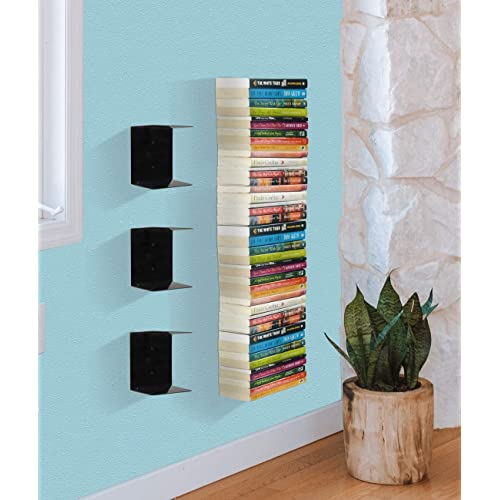 APPUCOCO Book Shelf Wall Mounted Heavy Duty Metal Invisible Book Shelves 3 Piece Per Pack (Made in India) with Screws & Plastic Anchors Included - Black