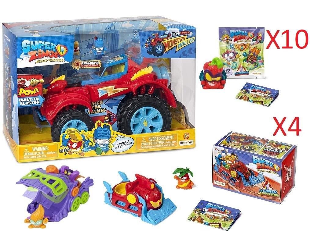 SuperZings Serie 5 - Pack Sorpresa con 15 Pcs De Juguetes y Regalos para Niños y Niñas - Contiene 10 Sobres One Pack y 4 Skyracers (PlaySet Heroe): Amazon.es: Juguetes y juegos