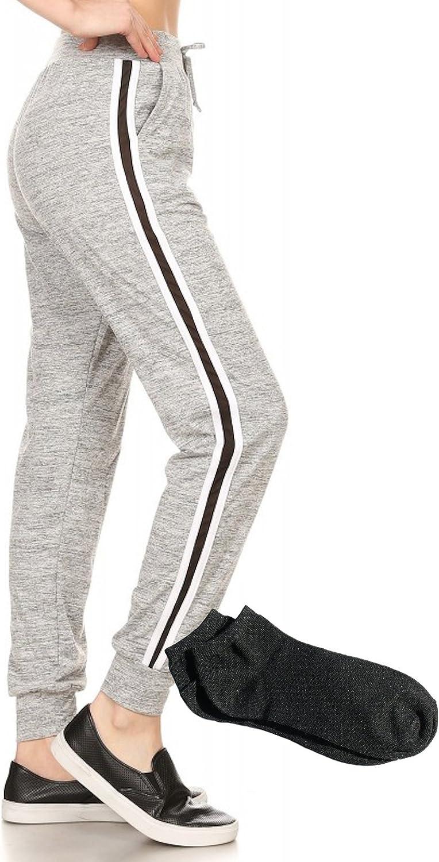 ShoSho Women's Black Leggings Jogger Pants Side Striped Panels Sweatpants and Pockets w Free Socks