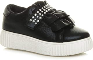 Girls Kids Childrens Flatform Ruffle Diamante Sparkly Party Trainers Shoes Size