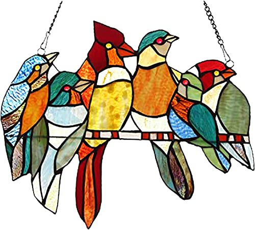 lowest 6 Bird Birds on A Wire High Stained Acrylic Sun Catcher Window Hanging Ornaments Bird Sculptures Pendant Home Decoration for Patio Yard Garden outlet sale Decor high quality Gifts outlet sale