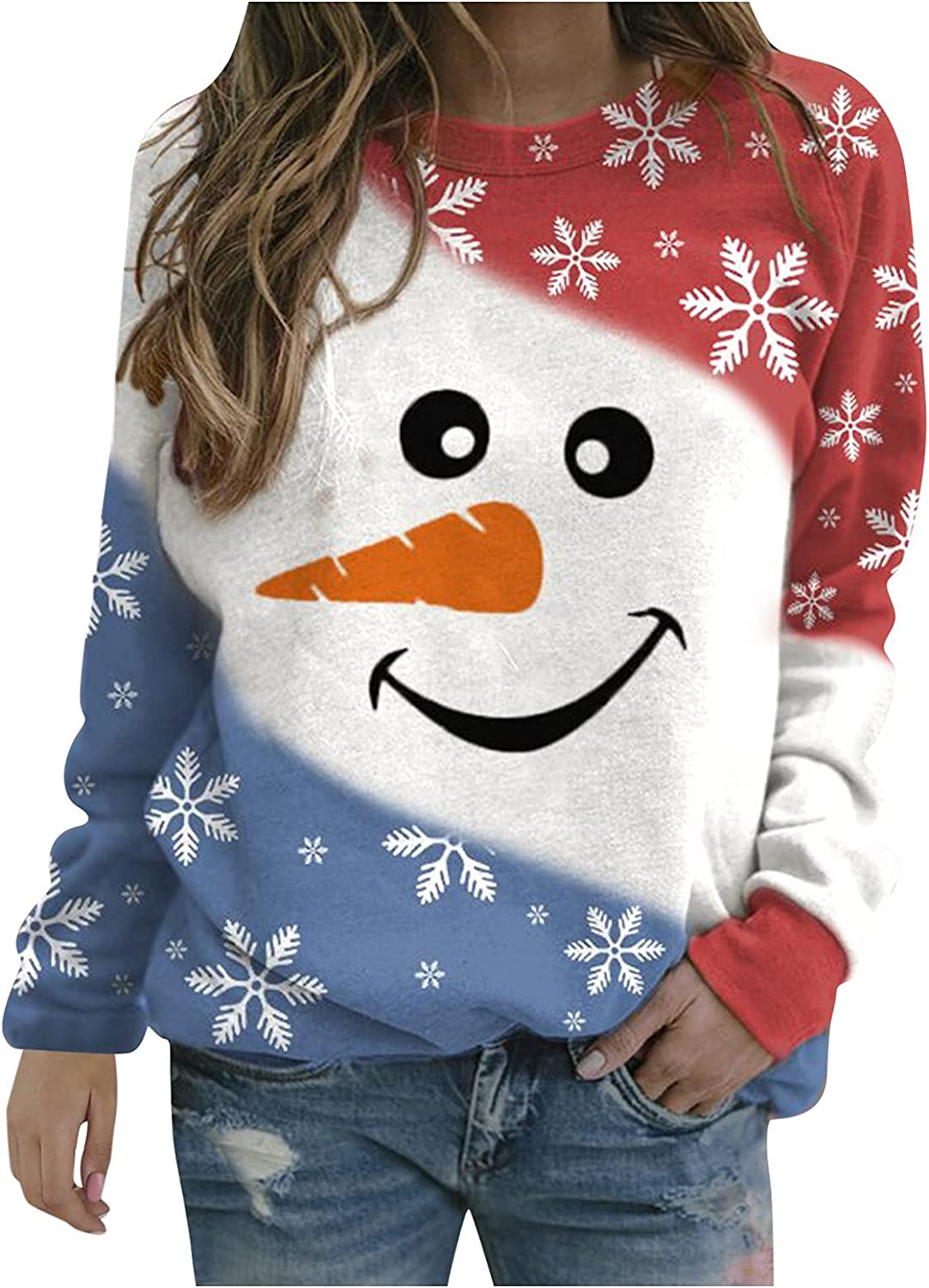 Christmas Sweaters for Women Crewneck Trendy Cute Snowman Graphic Long Sleeve Shirts Loose Fit Comfy Plus Size Blouses