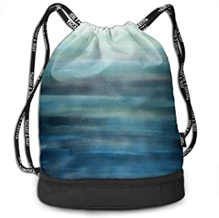 Traveling Swim Gym Beam Backpack Aqua Teal Blue Sea Ocean Ombre Watercolor Beam Backpack Basketball, Volleyball, Baseball Daypack For Boys Teens Youth Birthday Party