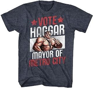 Final Fight Vote Haggar Navy Heather Adult T-Shirt Tee