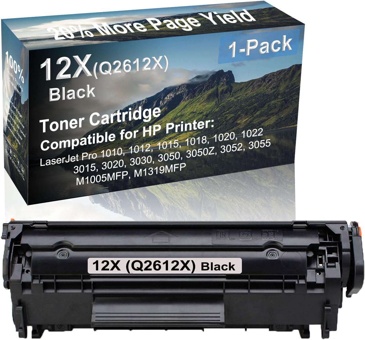 1-Pack Compatible High Yield 3050Z 3052 3055 M1005MFP M1319MFP Laser Printer Toner Cartridge Replacement for HP 12X (Q2612X) Printer Cartridge (Black)