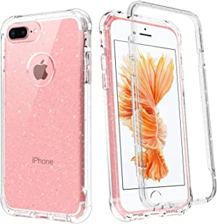BENTOBEN iPhone 7 Plus Case, iPhone 8 Plus Case, 2 in 1 Transparent Heavy Duty Rugged Shockproof Hybrid Hard PC Bumper Soft TPU Cover Protective Phone Cases for iPhone 6/6S/7/8 Plus, Glitter Clear