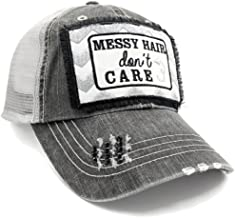 Loaded Lids Women's Bad Hair Day, Messy Hair Don't Care, Embroidered Patch Baseball Cap
