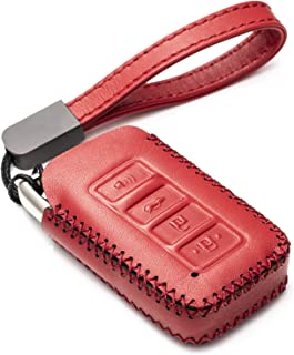 Vitodeco Genuine Leather Smart Key Fob Case Cover Protector with Leather Key Chain for 2014-2019 Lexus UX, NX, RX, GX, LX, is, ES, GS, LS (4-Button, Red)