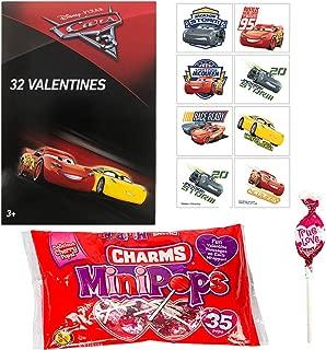 Disney Cars Valentine Cards With Charms Lollipops for 32 Kids Classroom Exchange Bundle Plus 8 Bonus Tattoos