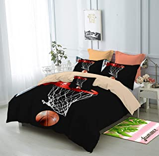 FAITOVE 3-Piece Basketball Bedding Set Collection 200cm x 230cm Comfortable Breathable Soft Microfiber Duvet Cover Sets Full Size with 2 Pillow Cases