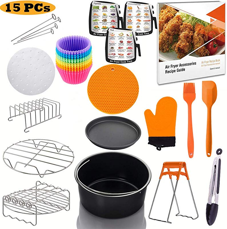 Jrickss Air Fryer Accessories 8 Inch 15 PCS FIT For 3 7 4 2 5 3 5 5 5 8 QT FDA Approved BPA Free Recipe Book Dishwasher Safe Compatible For Philips Gowise Ninja Cozyna Cosori And Power AirFryer