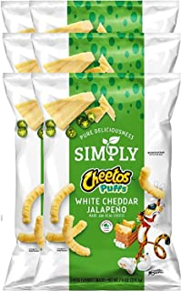 Cheetos Puffs Simply White Cheddar Jalapeño Cheese Flavored Snack Limited Edition- 7.75oz (6)