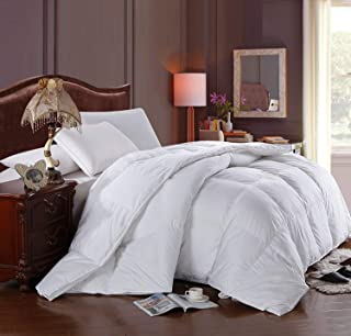 Soft, Light, Warm DOWN COMFORTER, 650 Fill Power, 100% Cotton Cover/Shell, 300 Threadcount, Solid White, Queen