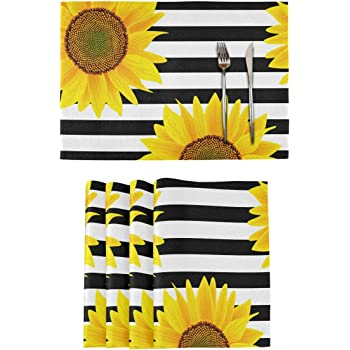 Amazon Com Aflyko Sunflower Placemat Set Of 4 Table Mats Double Side Print 18 X 12 Inch Home Kitchen