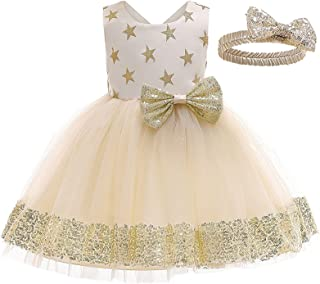 1-6Y Princess Toddler Baby Girls Dress Headband 2pcs Sequined Print Lace Sleeveless Tutu Dress Party Outfits 4 Color (Colo...