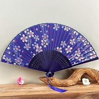 Los ventiladores plegables, ventilador plegable de mano, estilo antiguo chino Ventilador de mano con la tela de la manga, azul rosado Flor de Durazno seda ventilador con Marco de bambú y elegante deco