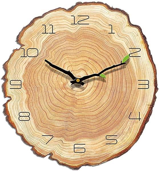 VANCORE 复古木制挂钟年轮装饰静音非滴答石英挂钟电池供电厨房卧室客厅 28 X 30厘米 11 8