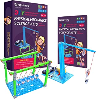 Giggleway Physics Lab Science Kits for Kids, DIY Pulley Crane Kit and Newton's Cradle STEM Kits Intro Mechanics, Circuit Building, Engineering, Kids Science Experiment Kits for Kids