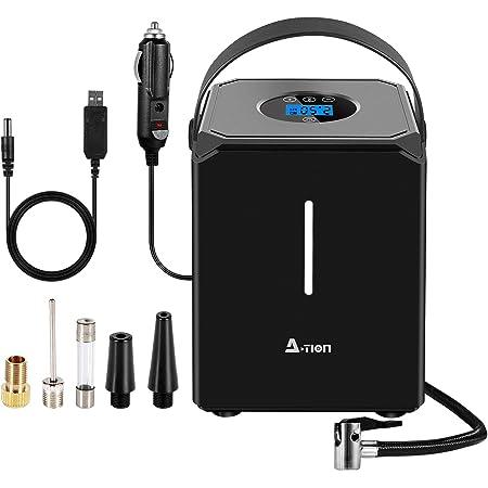 A-TION エアコンプレッサー、電動空気入れ LEDライト付き 電動エアポンプコードレス 自動車/自転車/球類