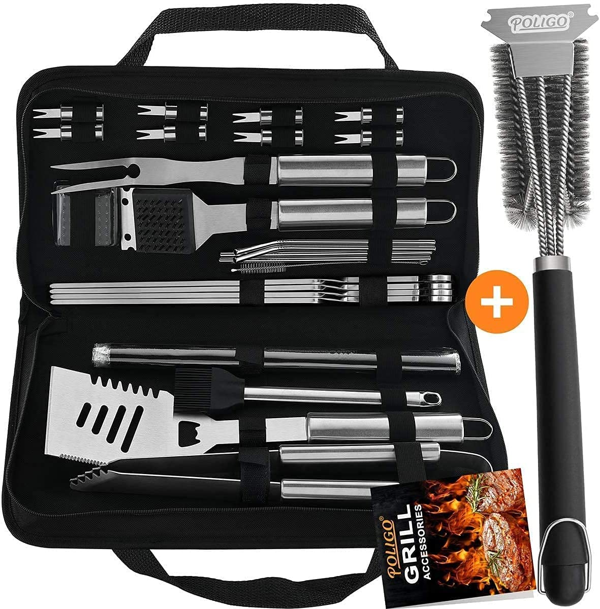 POLIGO 26PCS Cheap mail order shopping New color Barbecue Grill Accessories Set Bag Storage in Bundl